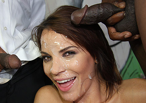 ten hung black men covering Dana DeArmond in sticky jizz from Bro Bang