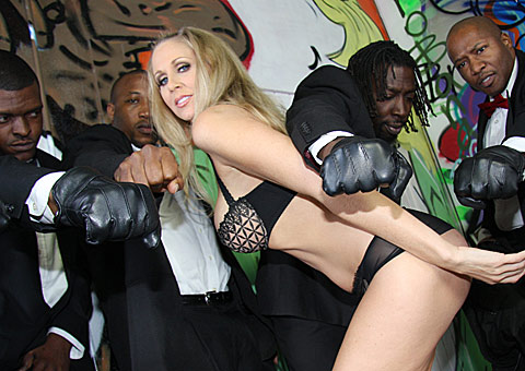 Busty blonde MILF Julia Ann gets bukkaked by black thugs from Bro Bang
