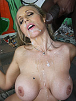 Busty blonde MILF Julia Ann gets bukkaked by several black men from Bro Bang